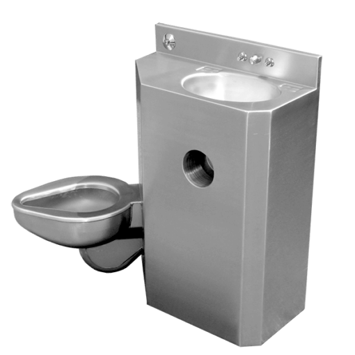 "20"" Wide Combination Unit (toilet/lavatory) with angled toilet bowl"