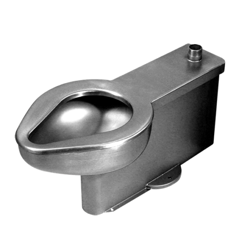 Rear flush toilet built for easy access in security environments without a mechanical chase.