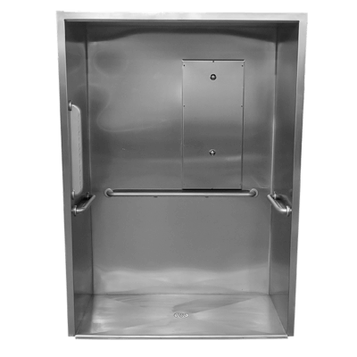 The Willoughby US/KS-3660-HC-FA Roll-In Front Access Cabinet ADA Compliant Shower is a single-user fixture with a handicap shower base.