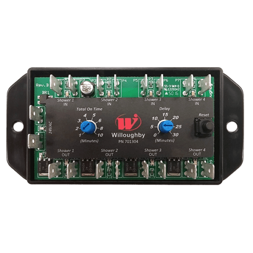 The Willoughby WUSC-2400 Electronic Water Usage 4-Shower Manager is a stand-alone electronic shower volume control module.